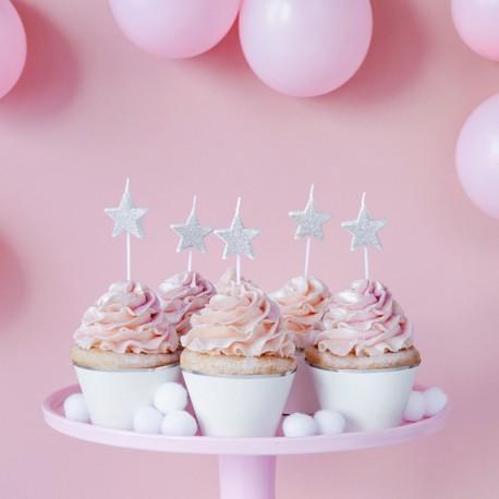 ŚWIECZKI na tort urodzinowe Gwiazdki SREBRNE 5szt