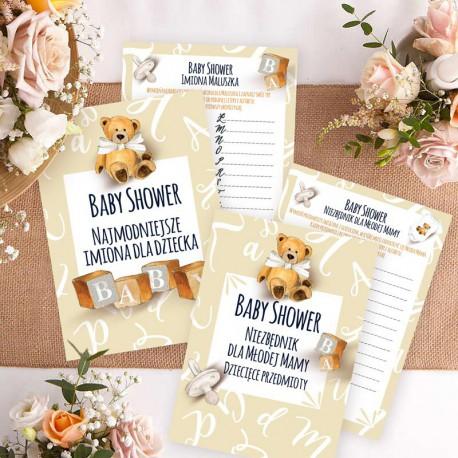 ZABAWA na Baby Shower dziecięce Imiona i Przedmioty KOMPLET 10szt