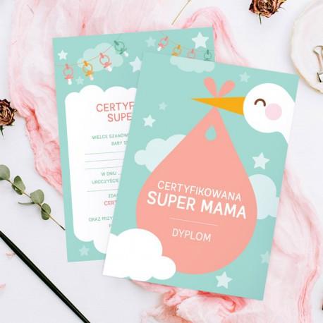 TEST+Dyplom dla Przyszłej Mamy Baby Shower BOCIAN (+gadżet)