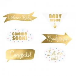 GADŻETY do zdjęć na Baby Shower 6szt