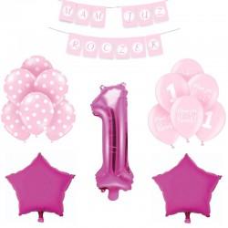 ZESTAW balonów na Roczek RÓŻOWY