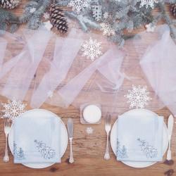 ORGANZA świąteczna z brokatem 0,36x9m BIAŁA