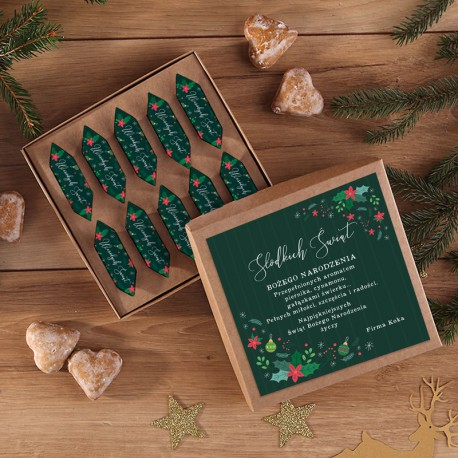 BOMBONIERKA z krówkami na prezent świąteczny Z NADRUKIEM Zielone Święta