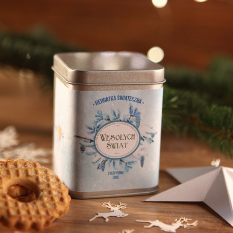 ŚWIĄTECZNA PUSZKA z herbatą na prezent Niebieskie Święta Z LOGO