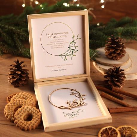 PREZENT firmowy świąteczny craft w pudełku Jemioła Z LOGO