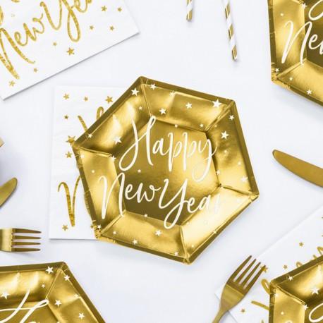 TALERZYKI na Sylwestra Happy New Year złote 6szt