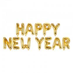 BALON foliowy Happy New Year złoty duży 370x35cm