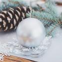 ŚWIECE świąteczne kule metaliczne 8cm 6szt SREBRNE