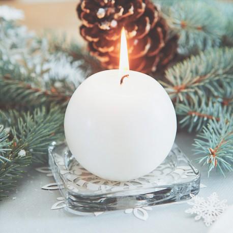 ŚWIECE świąteczne kule matowe 8cm 6szt BIAŁE