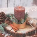 ŚWIECZNIK świąteczny metalowy na świece pieńkowe Frans