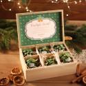 ZESTAW świąteczny firmowy w skrzyni Miodowy Zielony Z LOGO