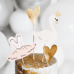 TOPPERY na tort urodzinowy Łabędź komplet 4szt