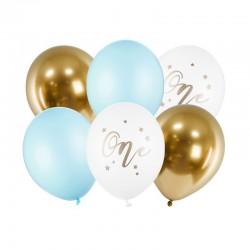 BUKIET z balonów na Roczek chłopca One MIX 6szt