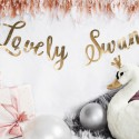 GIRLANDA urodzinowa baner Lovely Swan Łabędź ZŁOTY