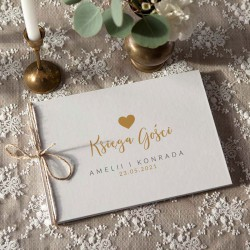 KSIĘGA Pamiątkowa na wesele Dziękuję z sercem Z IMIENIEM (+jutowy sznurek)
