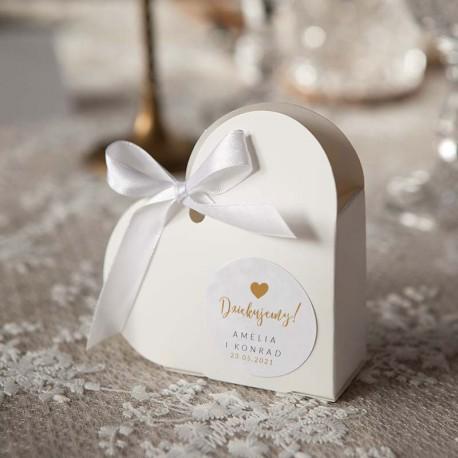 PUDEŁECZKA Serca na Ślub Dziękuję z sercem Z IMIENIEM (+białe wstążki) 10szt