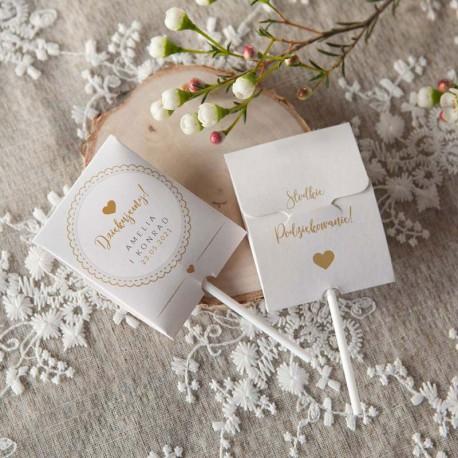 LIZAK w kartoniku na Ślub Dziękuję z sercem Z IMIENIEM (+naklejka)