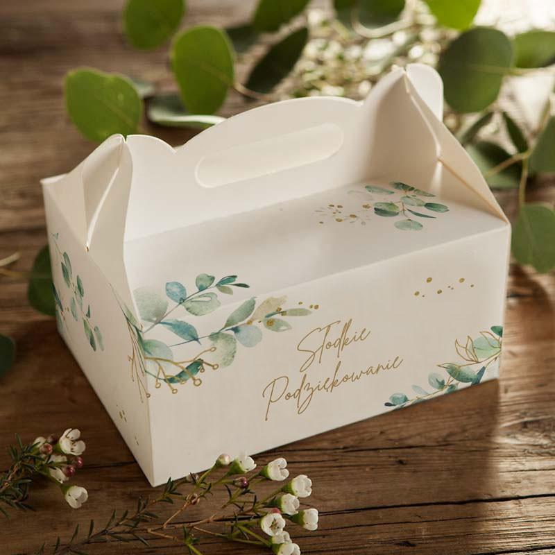 Pudełka na ciasto z gałązką eukaliptusa