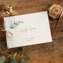 KSIĘGA Gości na wesele Gałązka Eukaliptusa z IMIENIEM (+jutowy sznurek)