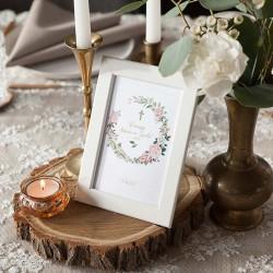 DEKORACJA stołu na Komunię Rustykalna z wianuszkiem (+ramka)