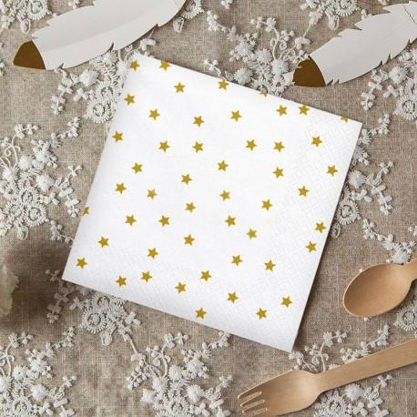 SERWETKI papierowe białe w złote gwiazdki 33x33cm 20szt