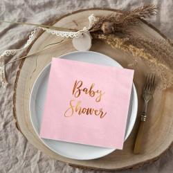 SERWETKI ze złotym napisem Baby Shower 33x33cm 20szt JASNORÓŻOWE KONIEC SERII