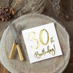 SERWETKI na 30 urodziny złoty napis 33x33cm 20szt