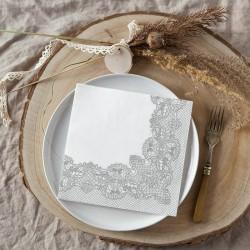 SERWETKI papierowe Srebrna Koronka 33x33cm 20szt