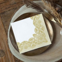 SERWETKI papierowe Złota Koronka 33x33cm 20szt