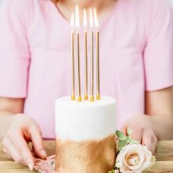 ŚWIECZKI na tort urodzinowy 12cm 12szt ZŁOTE
