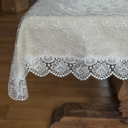 OBRUS bieżnik na stół z haftowaną koronką Rustykalny 130x180cm LUX