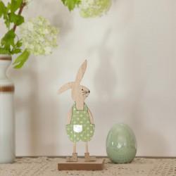 DEKORACJA na Wielkanoc drewniany Zajączek na podstawce 20cm