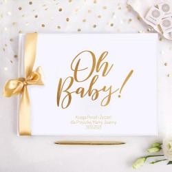 KSIĘGA Porady i Życzenia dla Przyszłej Mamy Oh Baby! Baby Shower Z IMIENIEM (+złota wstążka)