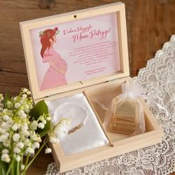 PREZENT na Baby Shower w pudełku Kwiaty Bransoletka Mama POZŁACANA