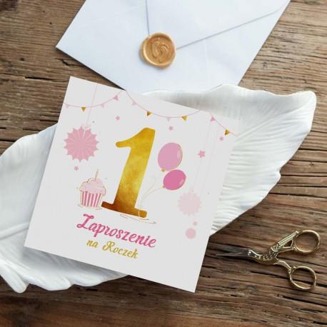 ZAPROSZENIA na Roczek Różowo-Złota Jedynka 10szt (+koperty)