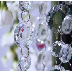 GIRLANDA kryształowa duże i małe kryształki BEZBARWNA