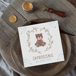 ZAPROSZENIA na Urodzinki Miś dla chłopca 10szt (+koperty)