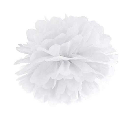 biały pompon z bibuły