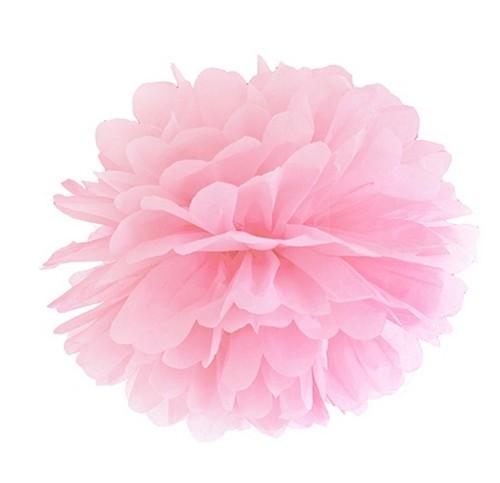 pompony z bibuły w kolorze różowym