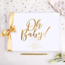 PAMIĘTNIK Przyszłej Mamy Oh Baby! Baby Shower Z IMIENIEM (+złota wstążka)
