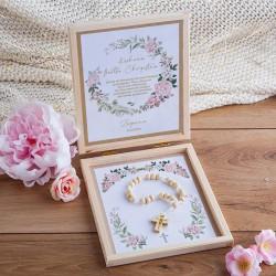 PODZIĘKOWANIE dla Chrzestnych/Dziadków Komunia różaniec drewniany Rustykalny