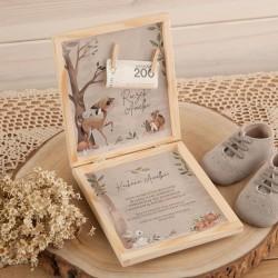 ŻYCZENIA na Urodziny chłopca pudełko na pieniążki z klamerkami Leśne Czary