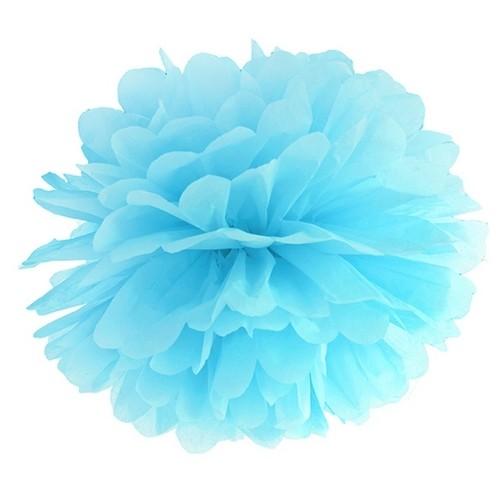 Niebieski pompon bibułowy