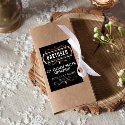 PROŚBA o bycie Świadkiem pudełko na czekoladę kraft Z IMIENIEM Black