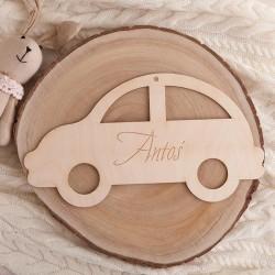 DEKORACJA pokoju dziecka Autko drewniane Z IMIENIEM 35x20cm