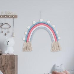 TĘCZA dekoracja pokoju dziecka makrama 25x30cm NIEBIESKA