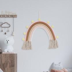TĘCZA dekoracja pokoju dziecka makrama 25x30cm PASTELOWA