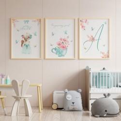 PLAKATY dla dziecka do pokoju Z METRYCZKĄ w ramie A4 Flower Girl 3szt