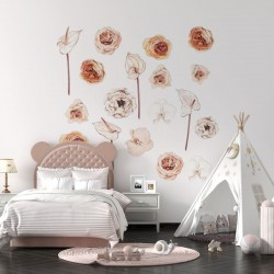 NAKLEJKI na ścianę do pokoju dziecka Kwiaty Boho 50x100cm