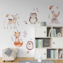 NAKLEJKI na ścianę do pokoju dziecka Leśni Przyjaciele 50x100cm